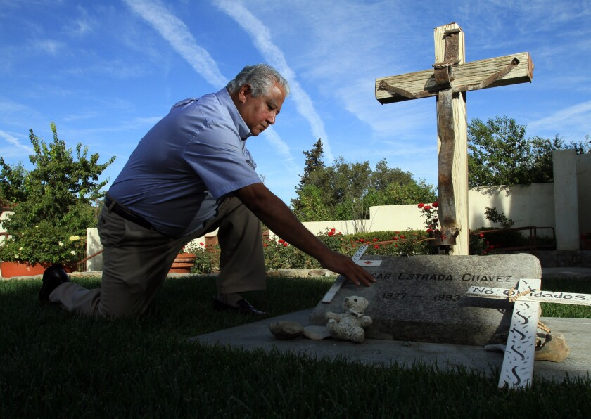 Paul Chavez visits the grave of his father, Cesar Chavez, at the Cesar E. Chavez National Monument i