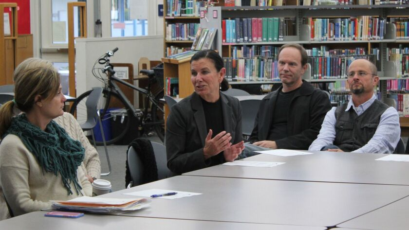SDUSD Area 5 Superintendent Mitzy Merino tells the La Jolla Cluster Association Jan. 19 about efforts to create a cluster-wide ceremony to honor teachers.