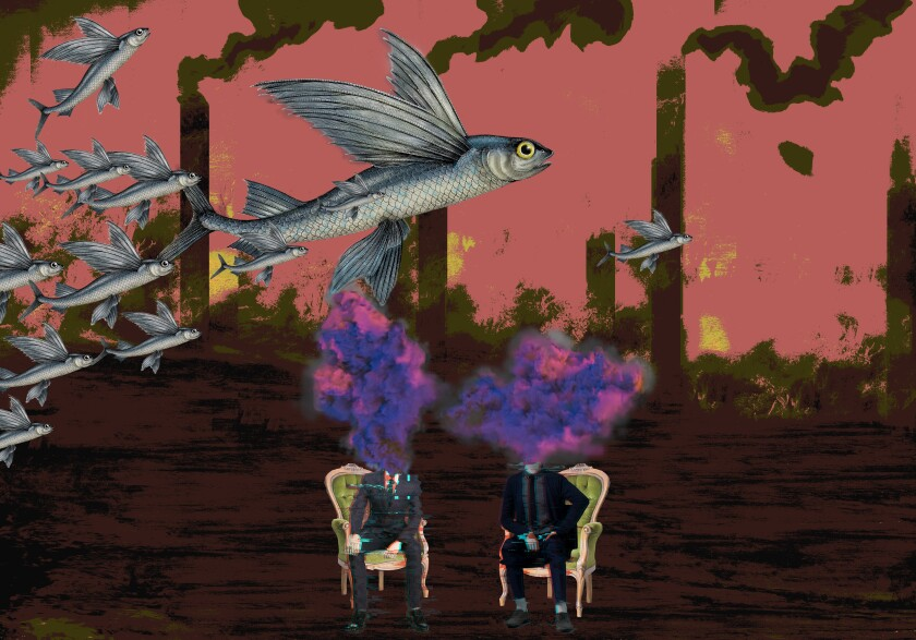 """""""Pink Sky and the Flying Fish,"""" 2021, by Fatima Franks on view in """"The Anthropocene Epiphany"""" exhibit."""