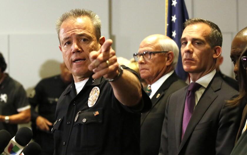 LAPD Chief Michel Moore and Mayor Eric Garcetti