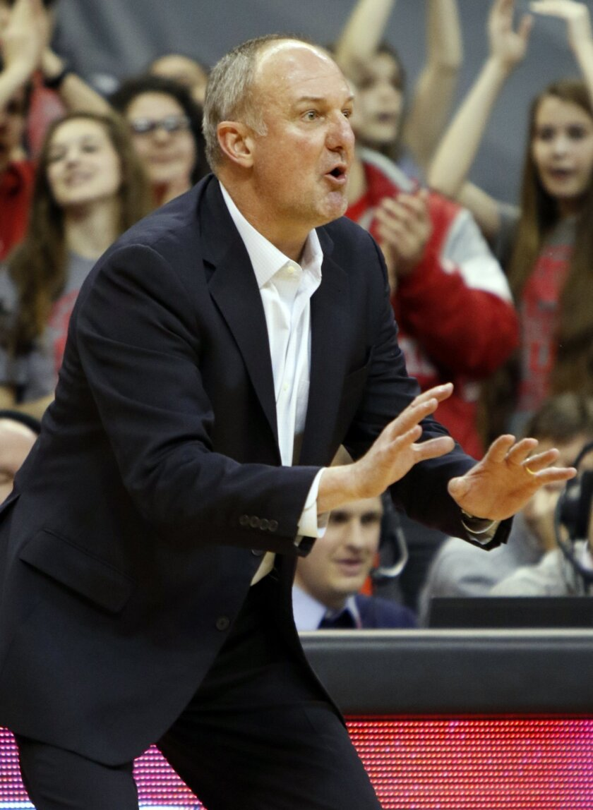 Ohio State coach Thad Matta directs his team during the second half of an NCAA college basketball game against  Northwestern in Columbus, Ohio, Tuesday, Feb. 9, 2016. Ohio State won 71-63. (AP Photo/Paul Vernon)