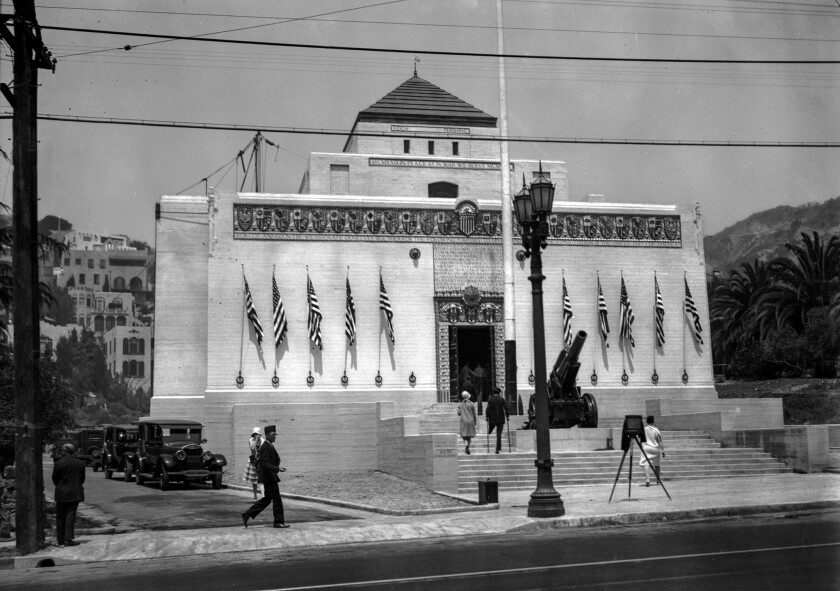 July 4, 1929: Front view of the new American Legion building on Highland Avenue in Hollywood.