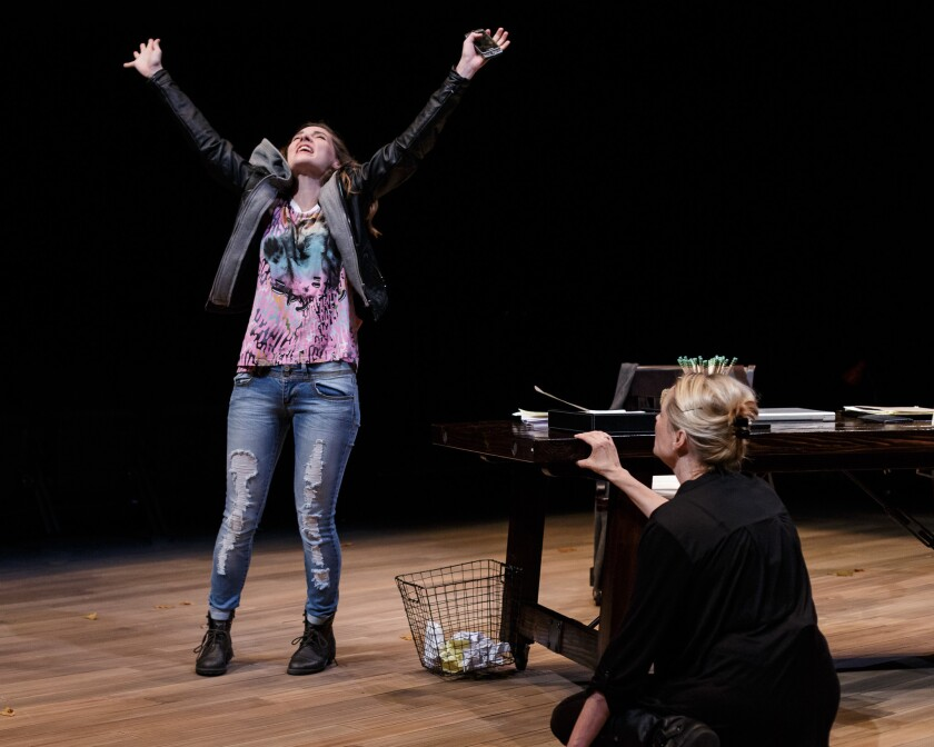 """Katie Sapper, left, portrays drama student Crystal, and Kate Blumberg is Miriam in the La Jolla Playhouse's production of """"Kingdom City"""" by Sheri Wilner."""