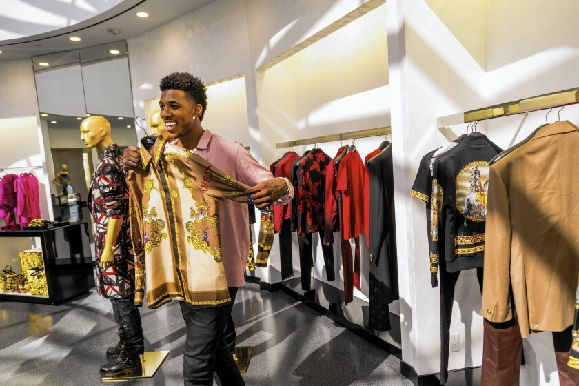 Nick Young at the Versace store in Beverly Hills