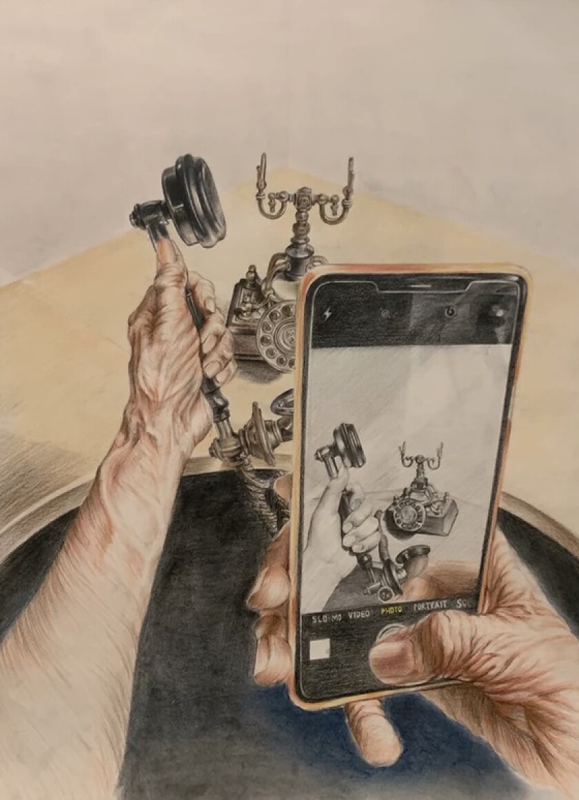 A painting that reflects how technology has changed.