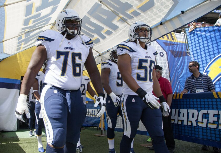 The San Diego Chargers vs. The Jacksonville Jaguars at Qualcomm Stadium.San Diego Chargers tackle D.J. Fluker (76) and San Diego Chargers outside linebacker Tourek Williams (58).