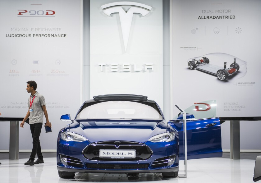The Model S of US electric cars manufacturer Tesla Motors is seen during a press day of the 66th IAA auto show in Frankfurt am Main, western Germany, on Sept. 16.