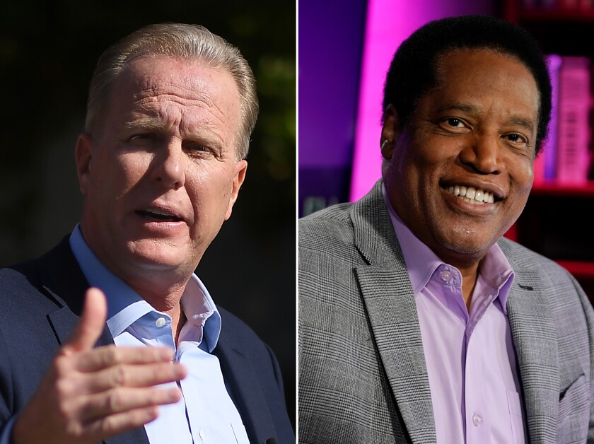 Republican recall election candidates Kevin Faulconer and Larry Elder