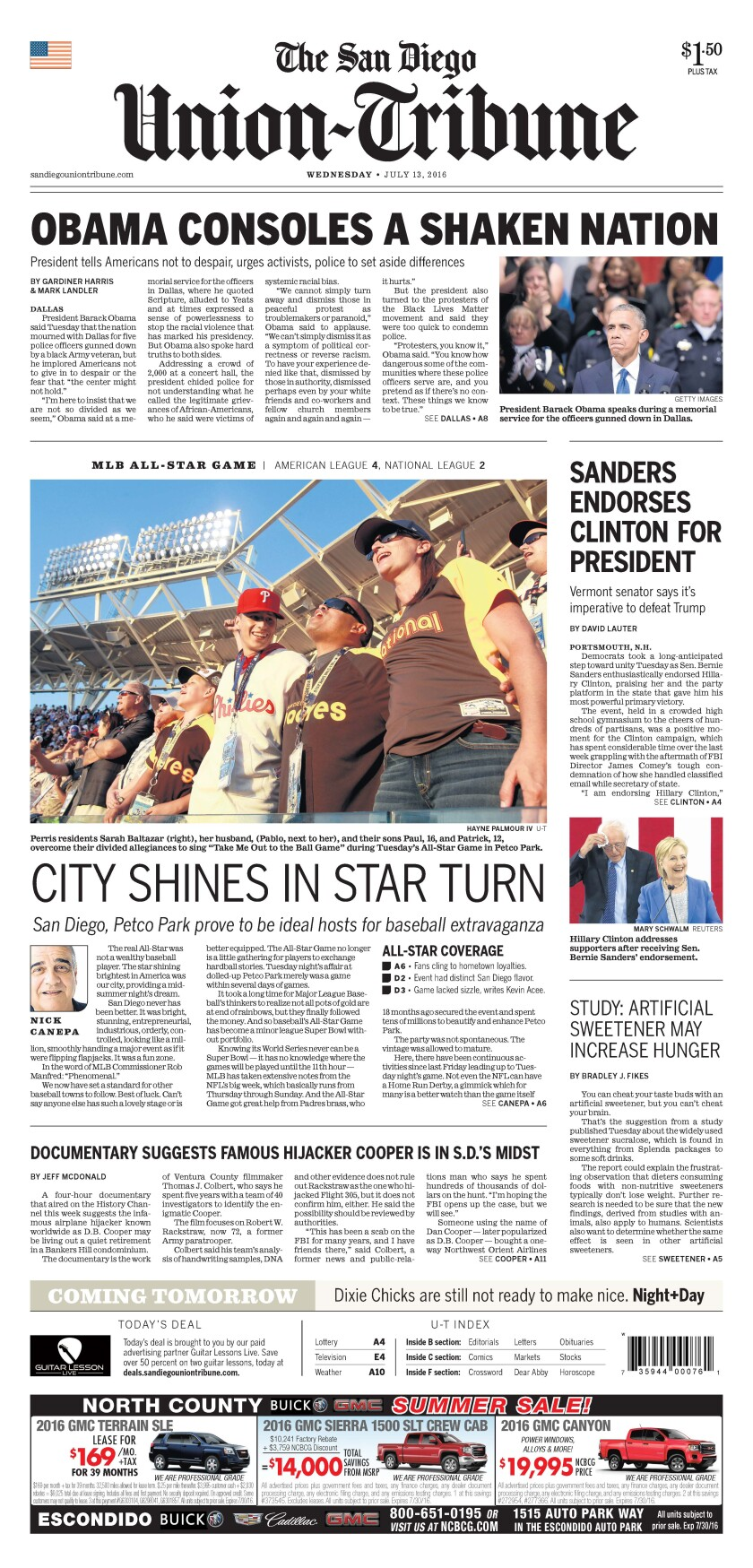 Front page of The San Diego Union-Tribune, July 13, 2016.