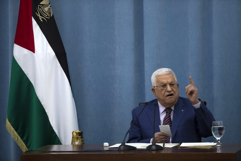 FILE - In this May 12, 2021 file photo, Palestinian President Mahmoud Abbas speaks a meeting of the PLO executive committee and a Fatah Central Committee at the Palestinian Authority headquarters, in the West Bank city of Ramallah. Abbas fired Ehab Bessaiso, the director of the Palestinian national library, after he criticized the death of Nizar Banat, an outspoken critic of the Palestinian Authority. A letter, dated June 27, 2021, and signed by Abbas, did not give a reason for the dismissal. (AP Photo/Majdi Mohammed, File)