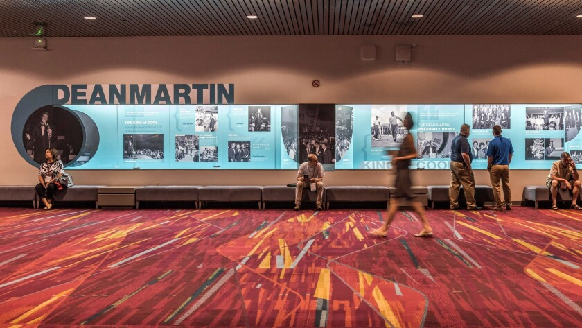 Two displays at the Las Vegas Convention Center pay tribute to singer-actor Dean Martin, who was bor