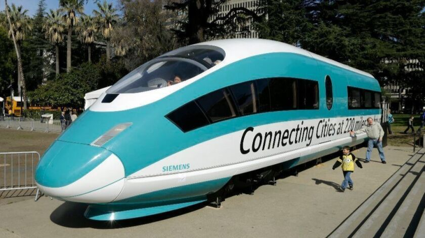 A full-scale mock-up of a bullet train locomotive is displayed in Sacramento on Feb. 26, 2015.