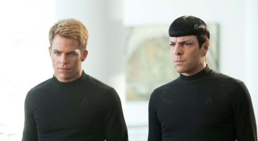 "Chris Pine, left, and Zachary Quinto star in ""Star Trek Into Darkness,"" which opened in seven foreign markets this weekend."