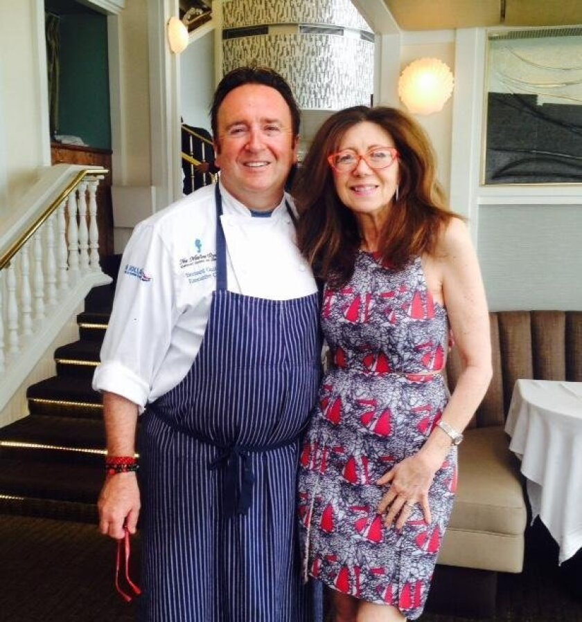 The Marine Room Executive Chef Bernard Guillas with The Kitchen Shrink, Catharine Kaufman