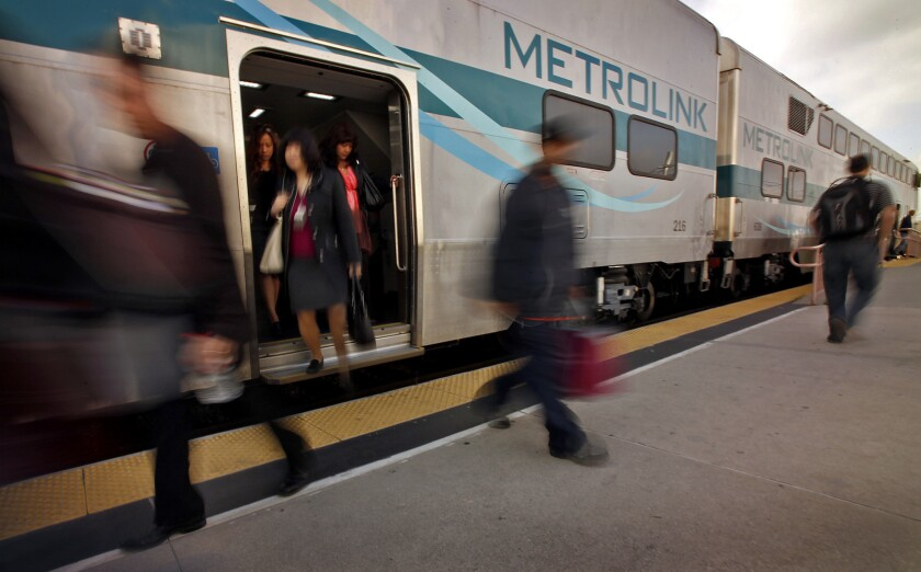 Metrolink passengers at downtown Los Angeles' Union Station in 2011.