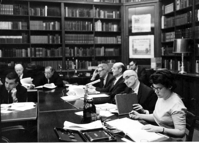 In this photo from the 1960s, Barbara Ringer is the only woman at a hearing on copyright revision. She later successfully sued the Library of Congress for discrimination after she was passed over for the job of register of copyrights