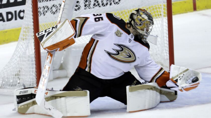 Ducks goaltender John Gibson (36) makes a save during the third period against the Florida Panthers.