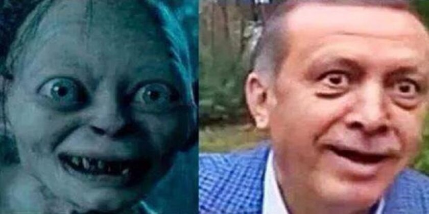 "This image of Turkish President Recep Tayyip Erdogan comparing him to the ""Lord of the Rings"" character Gollum was posted on Facebook in October."