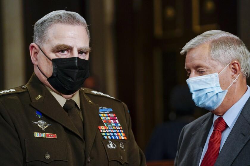 El jefe del estado Mayor Conjunto de EEUU general Mark Milley en el Capitolio en Washington.