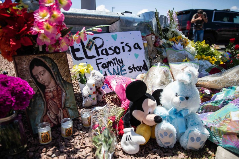 Flowers, stuffed animals, candles and posters honor the memory of the victims of the mass shooting that occurred in Walmart on Saturday morning in El Paso.
