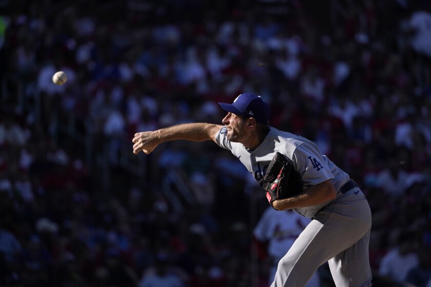Los Angeles Dodgers starting pitcher Max Scherzer throws during the fifth inning of a baseball game against the St. Louis Cardinals Monday, Sept. 6, 2021, in St. Louis. (AP Photo/Jeff Roberson)