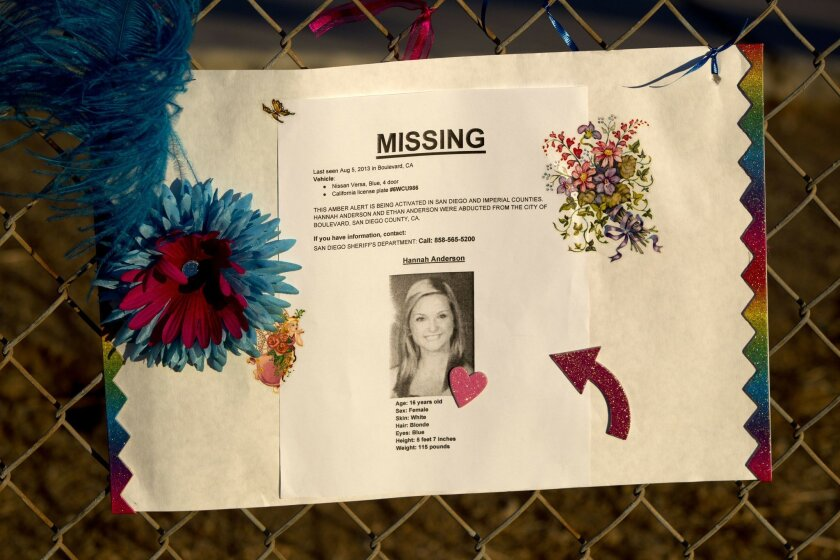 Hannah Anderson missing flyer on the fence during the vigil for her at El Capitan High School Tuesday.