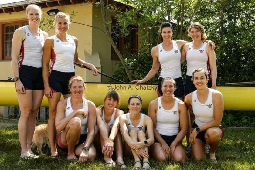 The US Women's Eight Rowing Team: Back row: Emily Regan, Meghan Musnicki, Amanda Polk, Lauren Schmetterling. Front row: Elle Logan, Tessa Gobbo, Katelin Snyder (coxswain), Amanda Elmore and Carmel Valley's Kerry Simmonds.