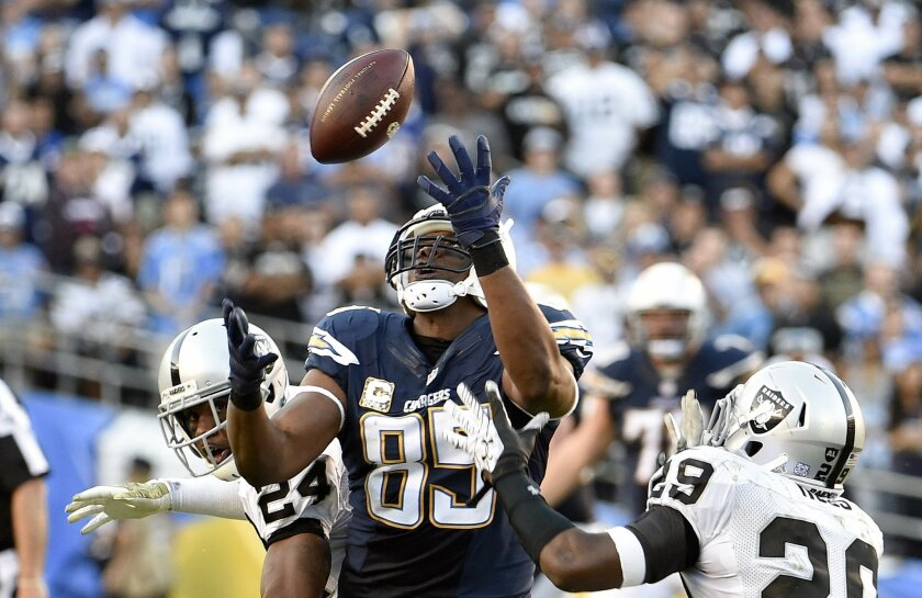 San Diego Chargers tight end Antonio Gates (85) makes a pass reception between Oakland Raiders free safety Charles Woodson (24) and strong safety Brandian Ross (29) during the fourth quarter of an NFL football game Sunday, Nov. 16, 2014, in San Diego.  (AP Photo/Denis Poroy)