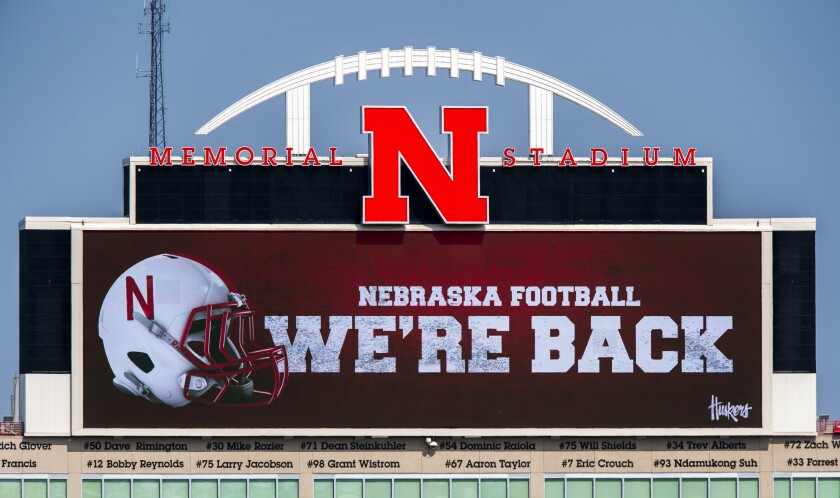 The video board at Nebraska's Memorial Stadium announces return of Big Ten football on Sept. 16.