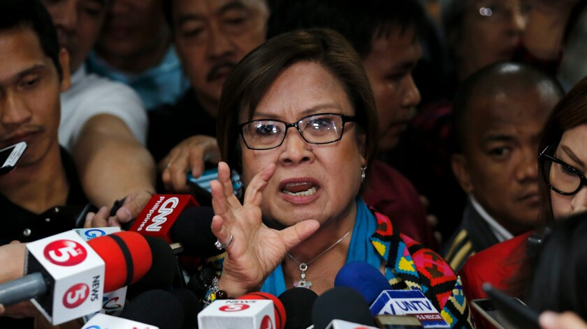 Filipino Sen. Leila De Lima speaks Sept. 20 at a news conference in Pasay City, south of Manila.