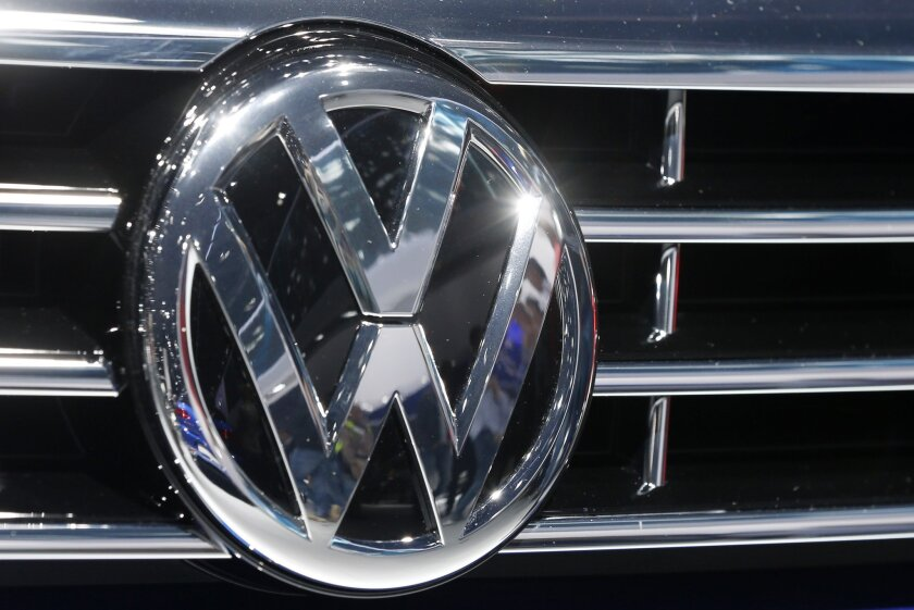 The Volkswagen logo is shown on a vehicle grille during a car show in Frankfurt, Germany, on Sept. 22, 2015.