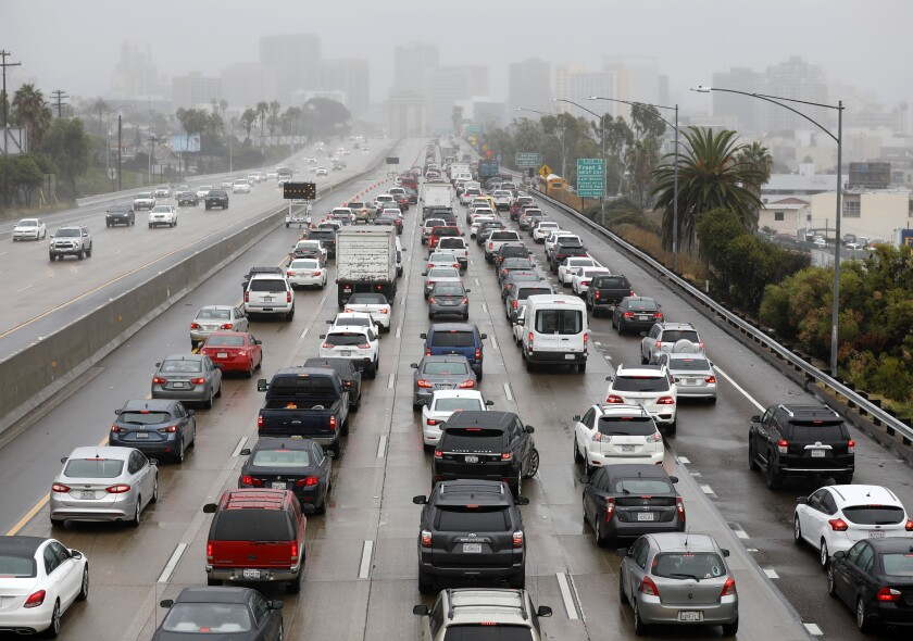 Five lanes of traffic backed up on southbound Interstate 5 in 2019.