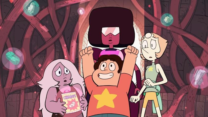 """Amethyst, Garnet, Steven and Pearl in """"Steven Universe"""""""