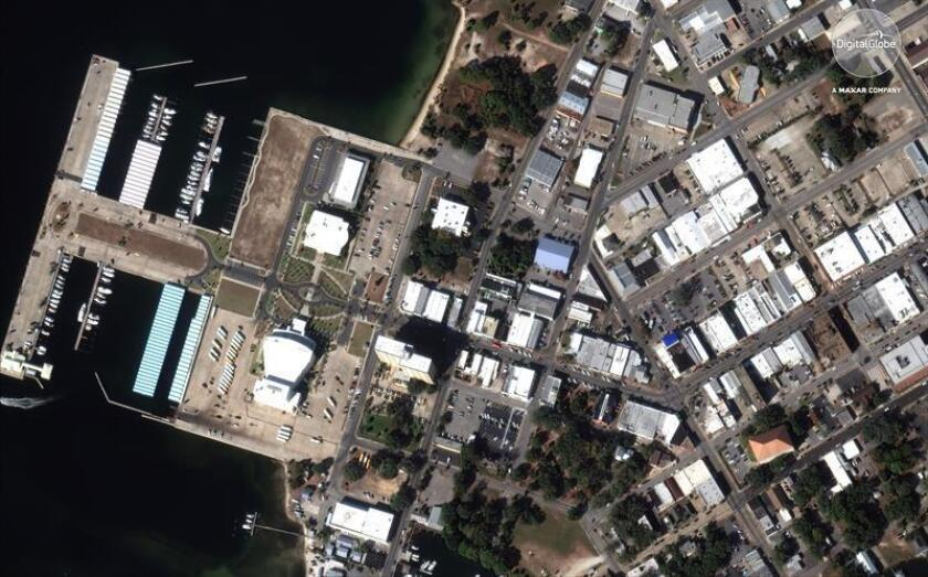 A handout satellite photo made available by DigitalGlobe on 13 October 2018 shows aerial view of downtown of Panama City, Florida, USA, 17 November 2017, before hurricane Michael hit the area. EFE/EPA/DIGITALGLOBE HANDOUT MANDATORY CREDIT: DIGITALGLOBE, A MAXAR COMPANY HANDOUT EDITORIAL USE ONLY/NO SALES