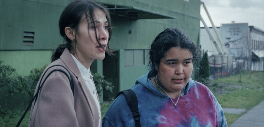 Elle-Máijá Tailfeathers and Violet Nelson in the movie 'The Body Remembers When the World Broke Open'