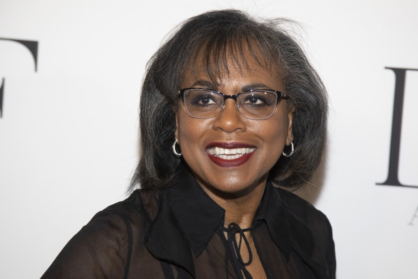 FILE - Anita Hill attends the 10th annual DVF Awards in New York on April 11, 2019. Hill, Neil Gaiman and Ann Patchett will be among the contributors to Book the Vote, an online initiative to provide information on the electoral system, voting registration and civic topics. Book the Vote (bookthevote.com) is a collaboration among Penguin Random House, PEN America, the non-profit organization When We All Vote and the literary retailer Out of Print, which is owned by Penguin Random House. (Photo by Andy Kropa/Invision/AP, File)