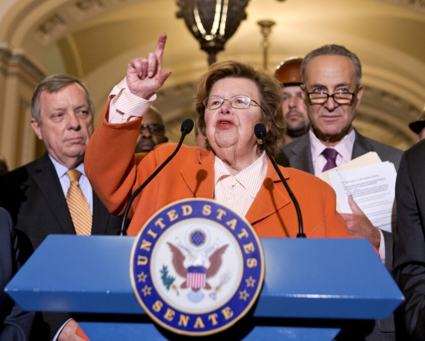 """Sen. Barbara Mikulski (D-Md.), the longest-serving woman in Congress, said it """"brings tears to my eyes"""" to hear the stories of women being paid less than men for equal work."""