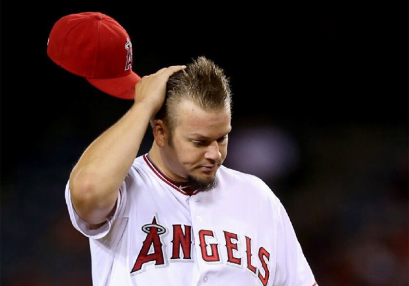Angels' Joe Blanton dropped to 0-7 on the season after giving up seven runs on 12 hits Monday.