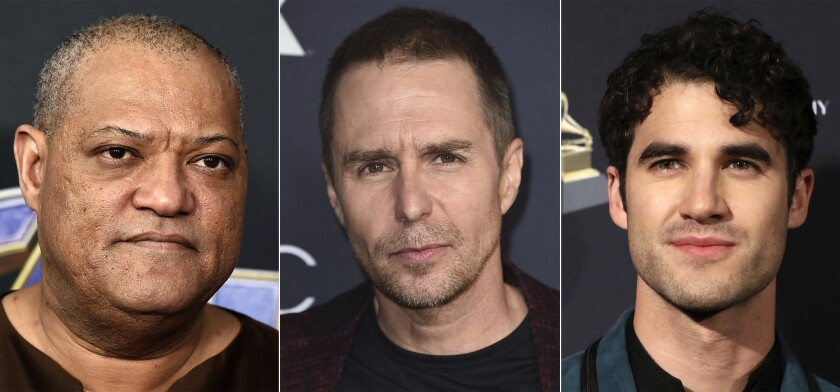 """This combination of photos shows, from left, Laurence Fishburne, Sam Rockwell and Darren Criss, who will star in a revival of David Mamet's """"American Buffalo."""" Previews begin the week of March 22, 2022 with an opening on April 14, 2022 at the Circle in the Square Theatre in New York. (AP Photo)"""
