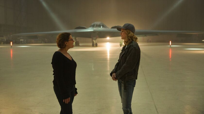 Marvel Studios' CAPTAIN MARVEL. L to R: Director Anna Boden and Brie Larson (Captain Marvel) on set