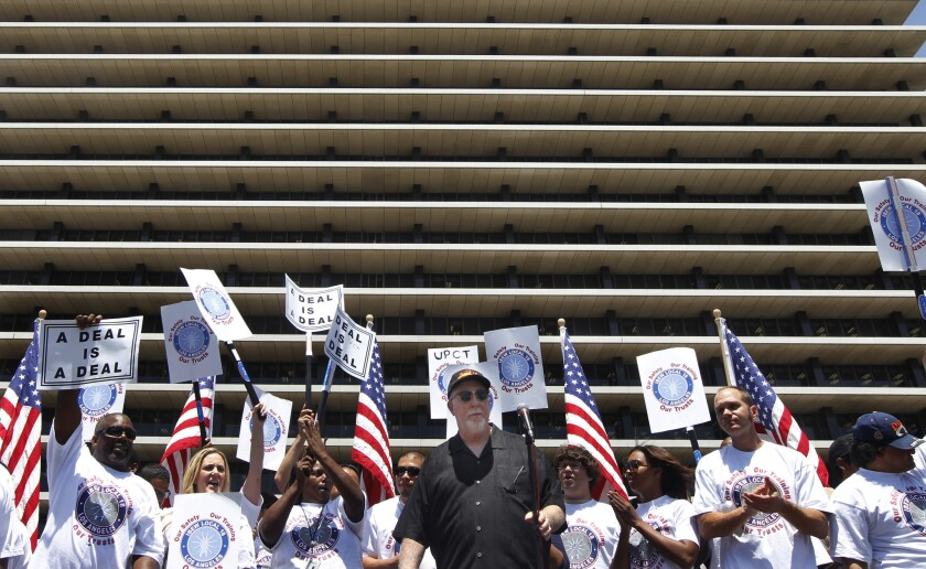 """Union leader Brian D'Arcy warned at a June 17 rally that Los Angeles was asking for """"trouble"""" if money was withheld from two Department of Water and Power-affiliated nonprofits."""