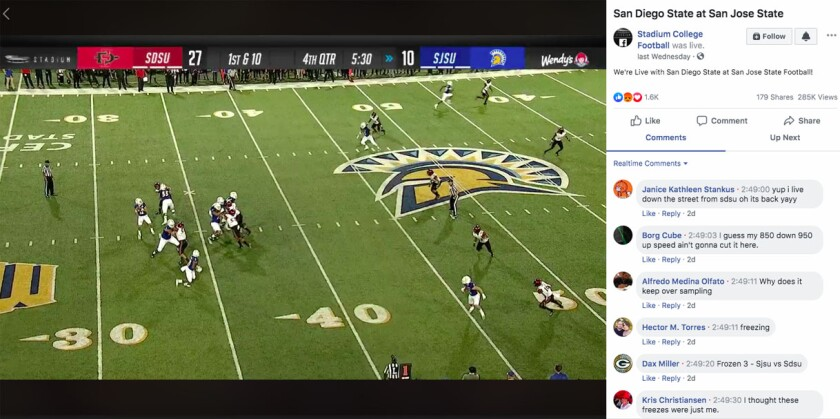 Screen shot from Facebook broadcast of Saturday night's San Diego State-San Jose State football game during time when the stream began to freeze.