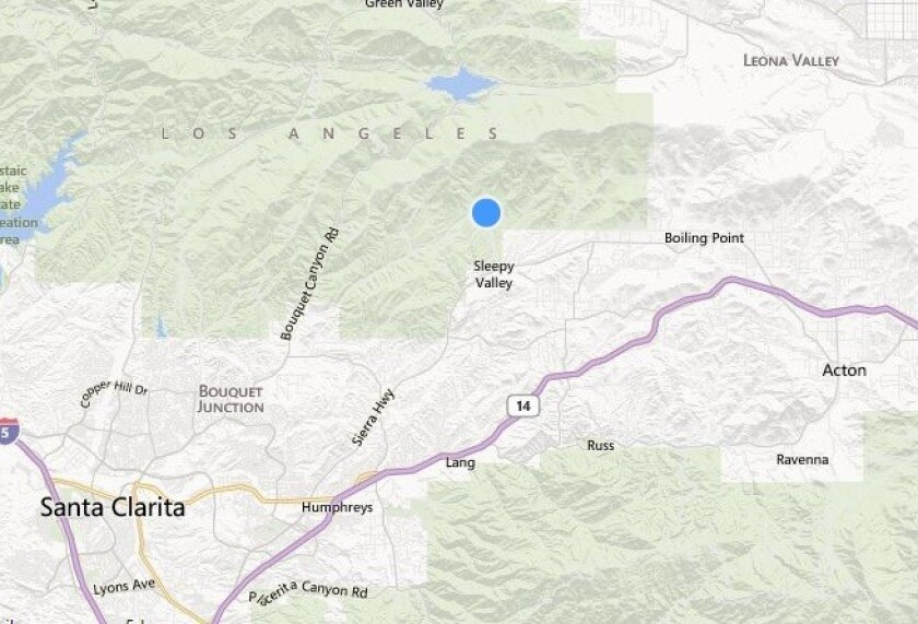 A map shows the approximate location of where a 16-year-old Ojai boy died after crashing his motorbike at the bottom of a ravine.