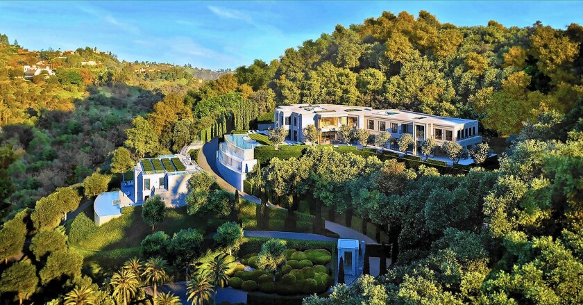 A rendering shows the first of three estates planned at the Park Bel Air development. The 59,226-square-foot mansion is on the market for $115 million.