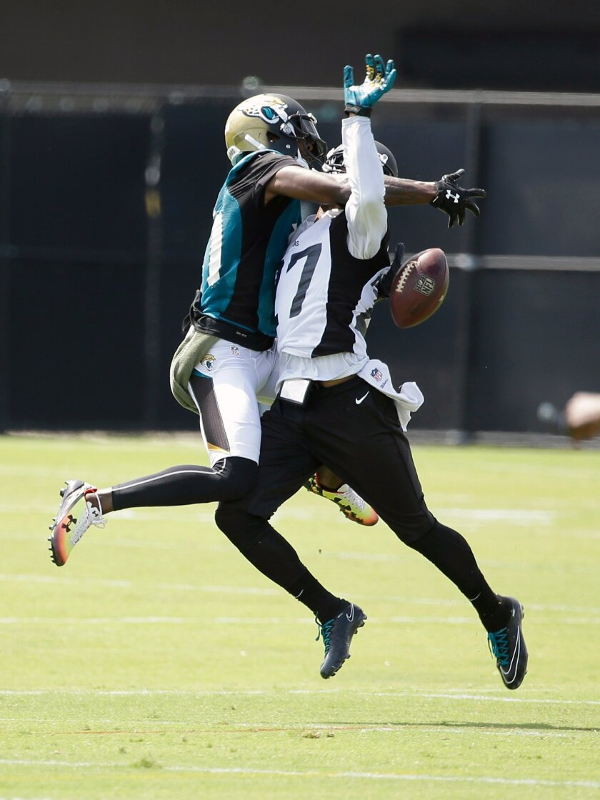 Jacksonville Jaguars cornerback Dwayne Gratz, right, breaks up a pass intended for wide receiver Marqise Lee, left, during an NFL football practice, Tuesday, May 24, 2016, in Jacksonville, Fla. (AP Photo/John Raoux)
