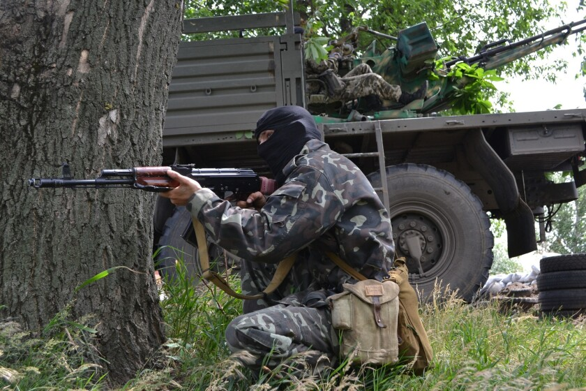 Pro-Russia militants outside Slovyansk, Ukraine