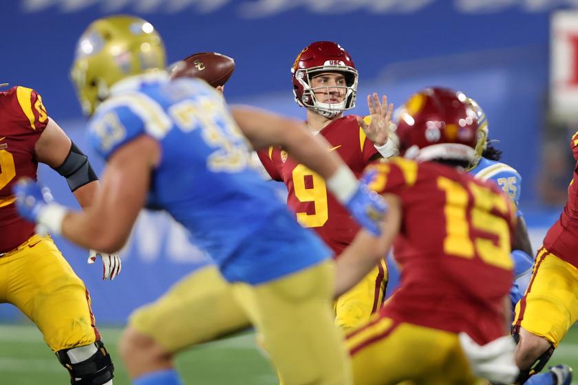 USC quarterback Kedon Slovis passes during the Trojans' comeback win over UCLA on Dec. 12.
