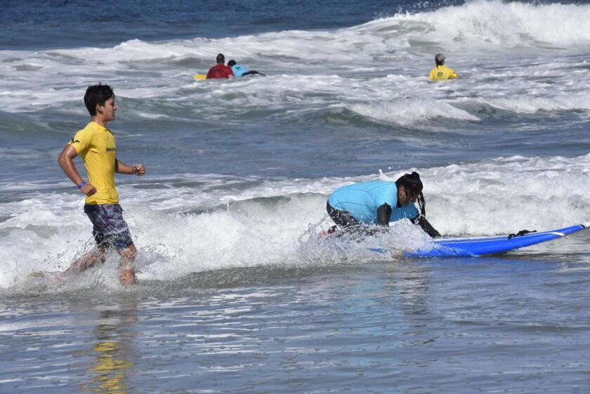 Participants at the 24th annual Encinitas Lions Blind Surfing Event held in 2019.