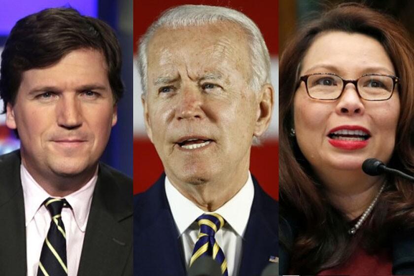 Tucker Carlson,   former Vice President Joe Biden  and Sen. Tammy Duckworth, D-Ill.,