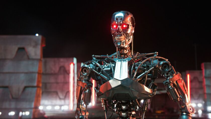 A T-800 Robot from the Paramount Pictures and Skydance Productions film Terminator Genisys.